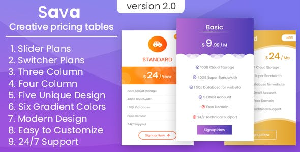 Sava - Three column, four column, slider, switcher creative pricing tables