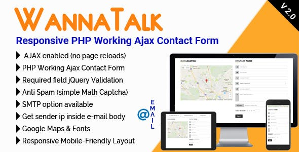 WannaTalk - Responsive PHP Working Ajax Contact Form
