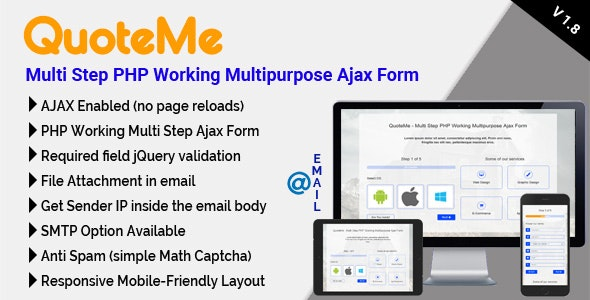 QuoteMe Multi Step PHP Working Multipurpose Ajax Form by mgscoder