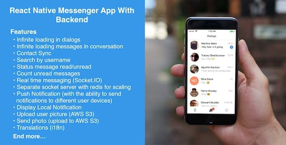 React Native Messenger App with Backend for iOS and Android