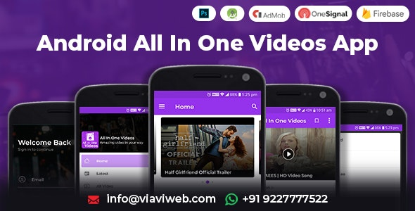 Android All In One Videos App (DailyMotion,Vimeo,Youtube