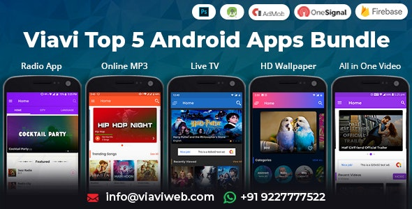 Viavi Top 5 Android Apps Bundle Tv Radio Wallpaper Mp3