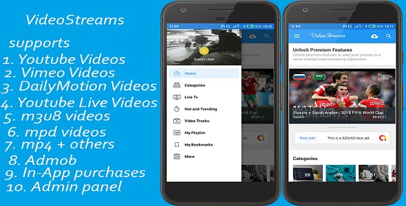 VideoStreams -supports vimeo, dailymotion, youtube, youtube live, m3u8, mpd, mp4, avi and others.