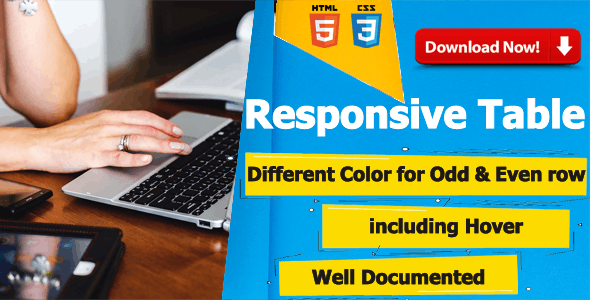 Dear's Responsive CSS Table for HTML, HTML5, Bootstrap Websites
