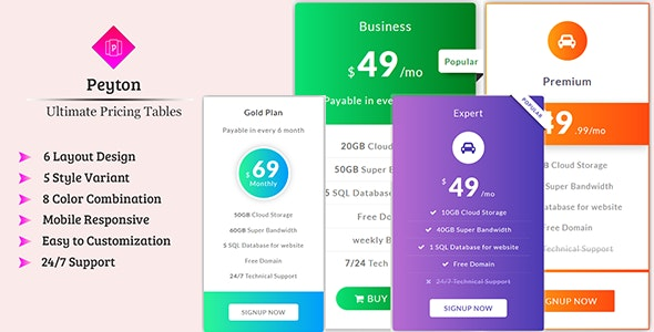 Peyton - Ultimate Pricing Tables - CodeCanyon Item for Sale