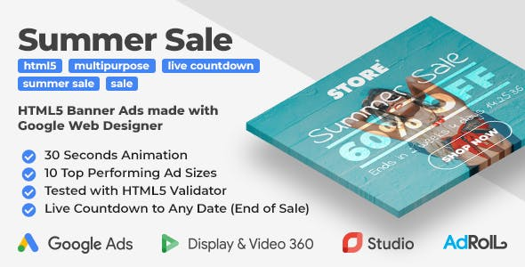 Summer Sale - Shopping HTML5 Banners with Live Countdown (GWD, jQuery)