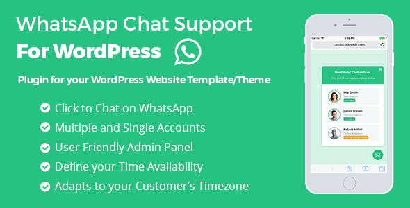 WP WhatsApp Chat Support - WordPress Plugin