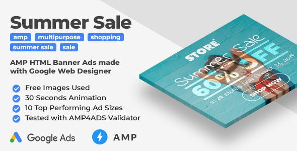 Summer Sale - Shopping Animated AMP HTML Banner Ad Templates (GWD, AMPHTML)