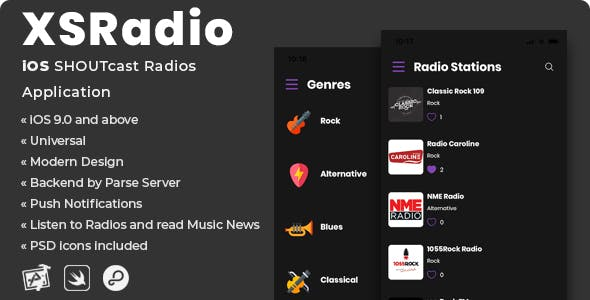 XSRadio | iOS SHOUTcast Radios Application