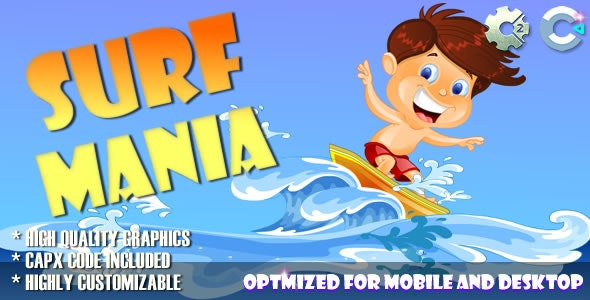 Surf Mania (C2, C3, HTML5) Game. - CodeCanyon Item for Sale