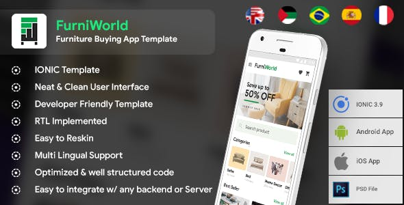 Furniture buying Android + iOS App Template | HTML + Css IONIC 3 | FurniWorld