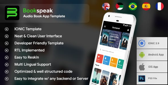 Audio Book Android App + iOS App Template | Bookspeak (HTML+CSS files IONIC 3)