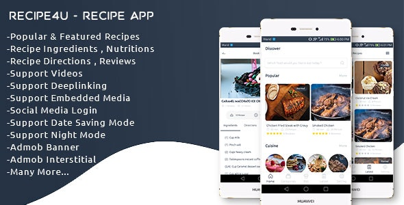 Recipe4u - Recipe App with Admin Panel - CodeCanyon Item for Sale