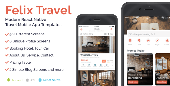 Felix Travel - Complete React Native travel app template - CodeCanyon Item for Sale