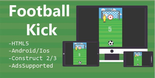 Football Kick HTML5 & Mobile Game (Construct 2 & 3)