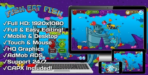 Fish Eat Fish - HTML5 Game, Mobile Version + AdMob!!! (Construct 3 | Construct 2 | Capx) - CodeCanyon Item for Sale
