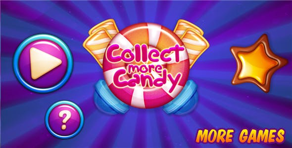 Collect More Candy - HTML5 Mobile Game (Construct 3 / Construct 2 / Capx)