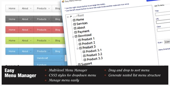 Easy Menu Manager - CodeCanyon Item for Sale