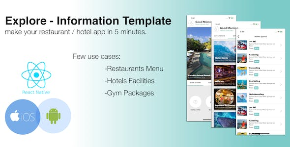 Explore - Restaurant / Hotel React Native Menu  Mobile Application