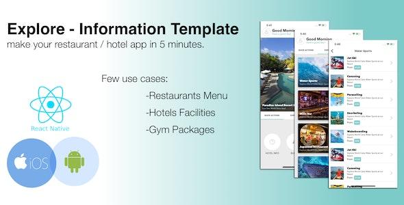Explore - Restaurant / Hotel React Native Menu  Mobile Application - CodeCanyon Item for Sale