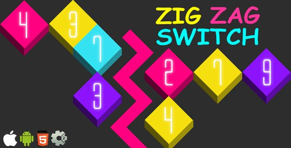 Zig Zag Switch - HTML5 Mobile Game (Construct 3 | Construct 2 | Capx)