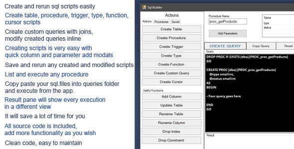 Sql Builder Desktop App (save,organize,execute) - CodeCanyon Item for Sale