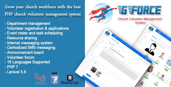 Church Volunteer Management Software - GForce - CodeCanyon Item for Sale