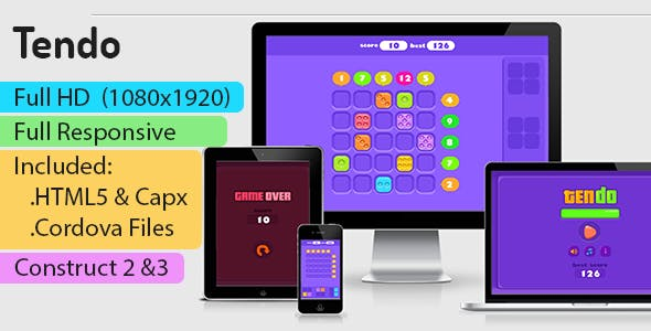 Tendo - HTML5 Game (Construct 2 | Construct 3 | Capx) - Puzzle Game
