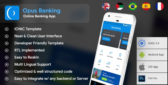 Online Banking Android App + iOS App Template | Opus Banking (HTML+CSS files IONIC 3) - CodeCanyon Item for Sale