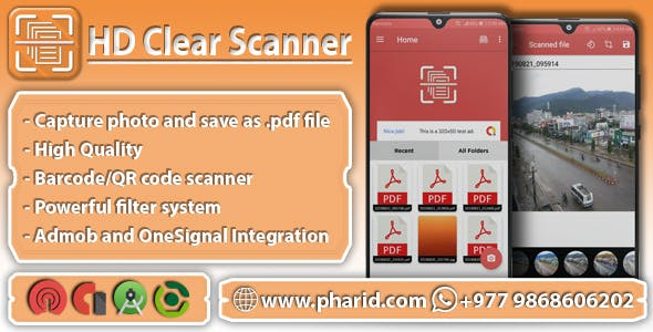 HD Clear Scanner - Images to PDF | Material Design, Admob Ads, ONE SIGNAL