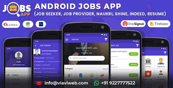 Android Jobs App (Job Seeker, Job Provider, Naukri, Shine, Indeed, Resume)