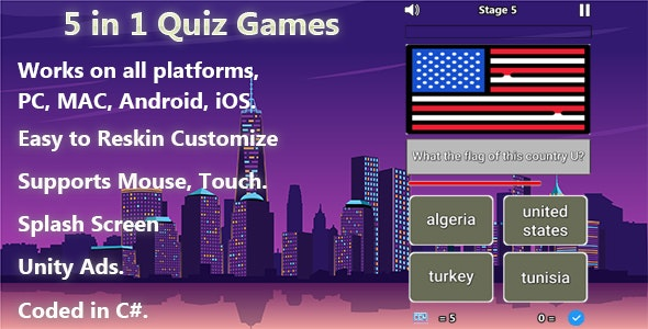 5 in 1 Quiz Games (Unity Complete Project + Unity Ads)
