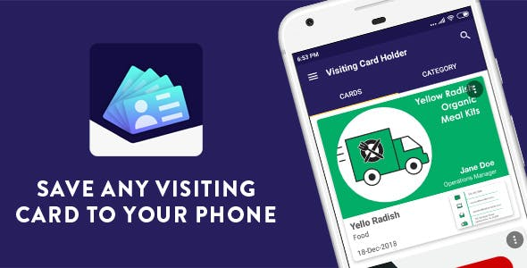Visiting Card Holder - Native Android mobile app