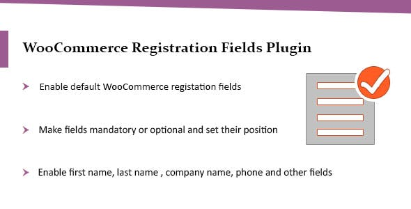WooCommerce Registration Plugin, Enable Default WooCommerce Fields