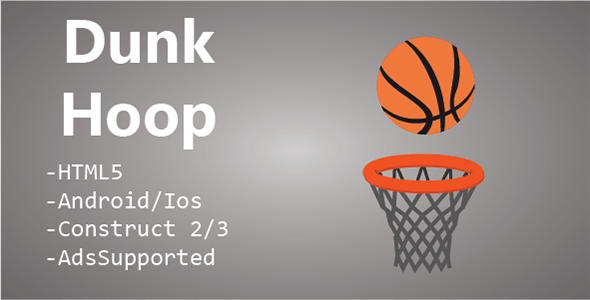 Dunk Hoop HTML5 & Mobile Game (Construct 2 & 3)