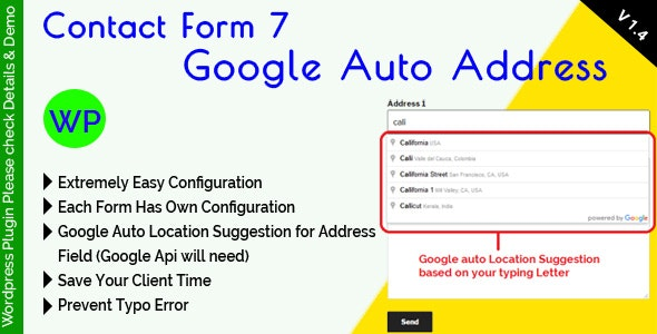 Contact Form 7 Google Auto Address Suggestion by mgscoder