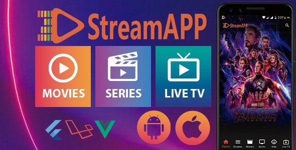 StreamApp - Streaming Movies, TV Series and Live TV - Flutter Full App with Admin Panel - CodeCanyon Item for Sale
