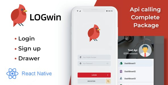 LOGwin - Register, Login & Navigation Drawer with API Calling Complete Package