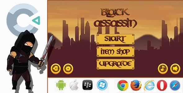 Black Assassin - HTML5 Game + Mobile Version (Construct 3 / C3P)