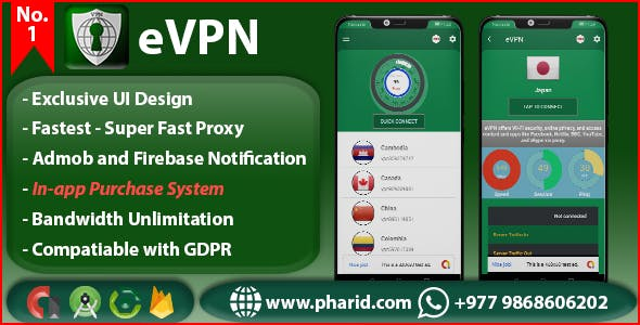 eVPN - Free Ultimate VPN | Android VPN, Billing, Phone Booster, Admob / Push Notification