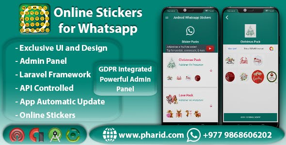 Online Stickers for Whatsapp - Admin Panel | Beautiful UI | Material Design | Admob Ads
