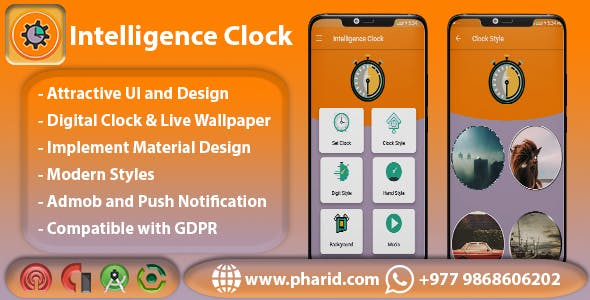 Intelligence Clock - Material Design, Admob Ads, Firebase Notify, Beautiful UI, Modern Technology