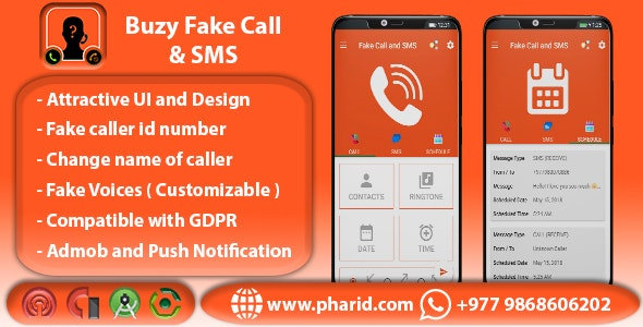 Buzy Fake Call and SMS | Android Studio Project | Admob Ads | Beautiful UI | Material Design - CodeCanyon Item for Sale