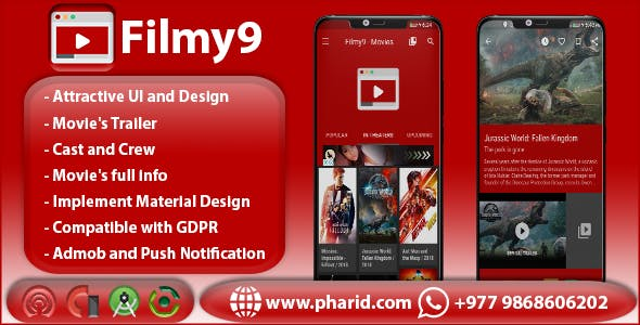Filmy9 - Movies, Reviews & Trailers | Material Design | In-App Purchase | Admob Ads | Firebase Alert