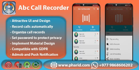 Abc Call Recorder - Beautiful UI, Admob, Firebase Push Notification, Playstore Policy Compatiable
