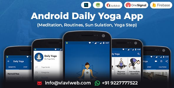 Android Daily Yoga App (Meditation, Routines, Sun Sulation, Yoga Step)