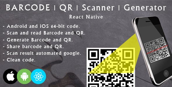 React native barcode and QR scanner and generator