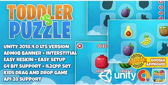 Baby Toddler's Puzzle : Easy Reskin + 64 Bit Support Google Play Store