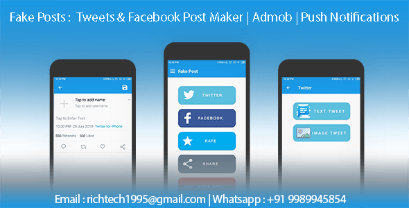 Fake Posts : Twitter Tweets & Facebook Post Maker | Admob | Firebase Push Notifications