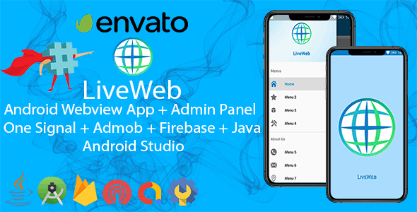LiveWeb Android WebView App + Admin Panel + One Signal + Admob | Convert Website To App